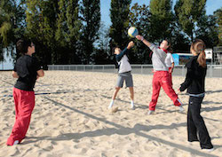 students playing volleyball in vidy lausanne