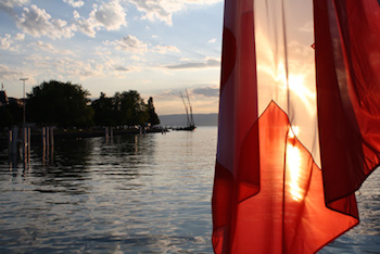 swiss flag on lake geneva2