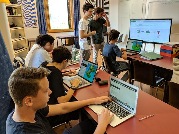 Students programming in Python at Brillantmont International School in Switzerland
