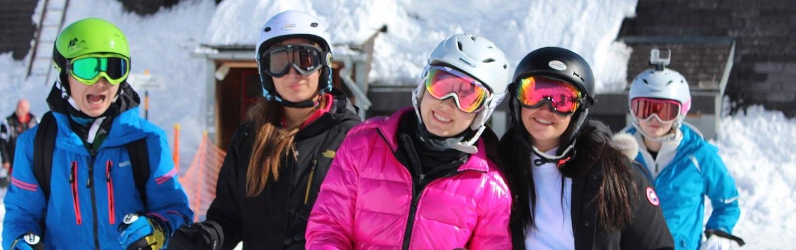 Swiss boarding school skiing in the alps