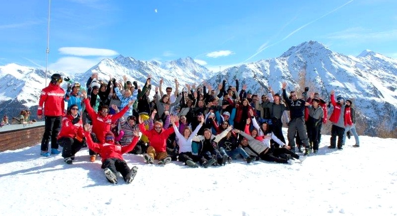 group shot in the alps
