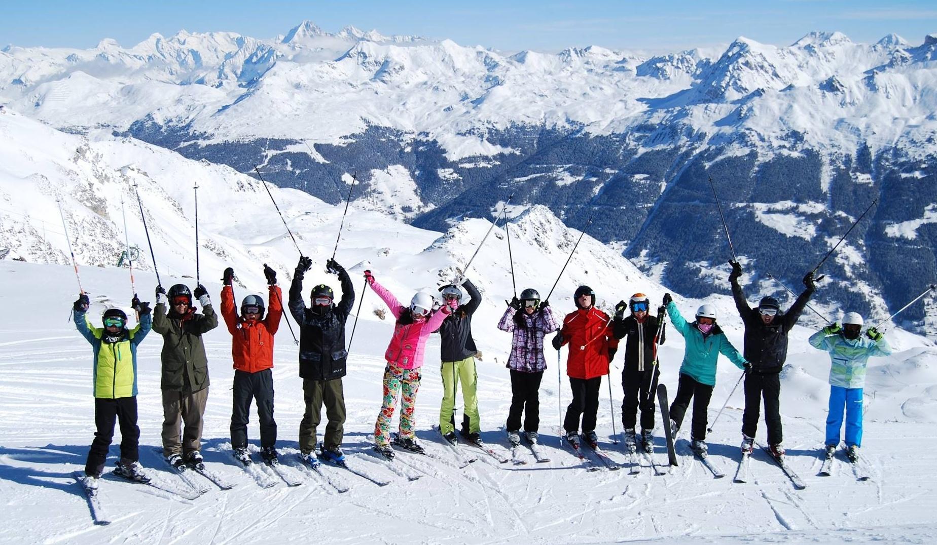 ski fun in swiss alps