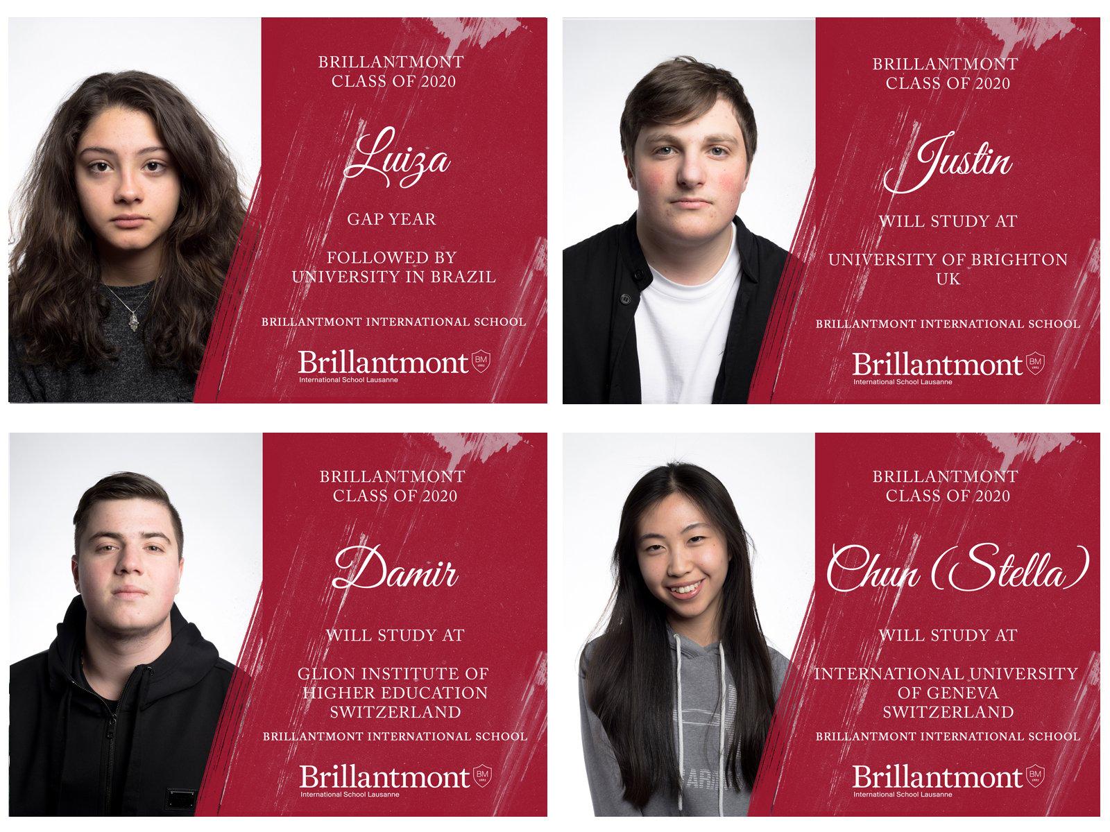 Brillantmont Graduates Class of 2020 - University choices 4