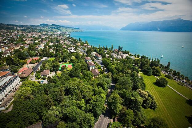 view of Lausanne area from the sky